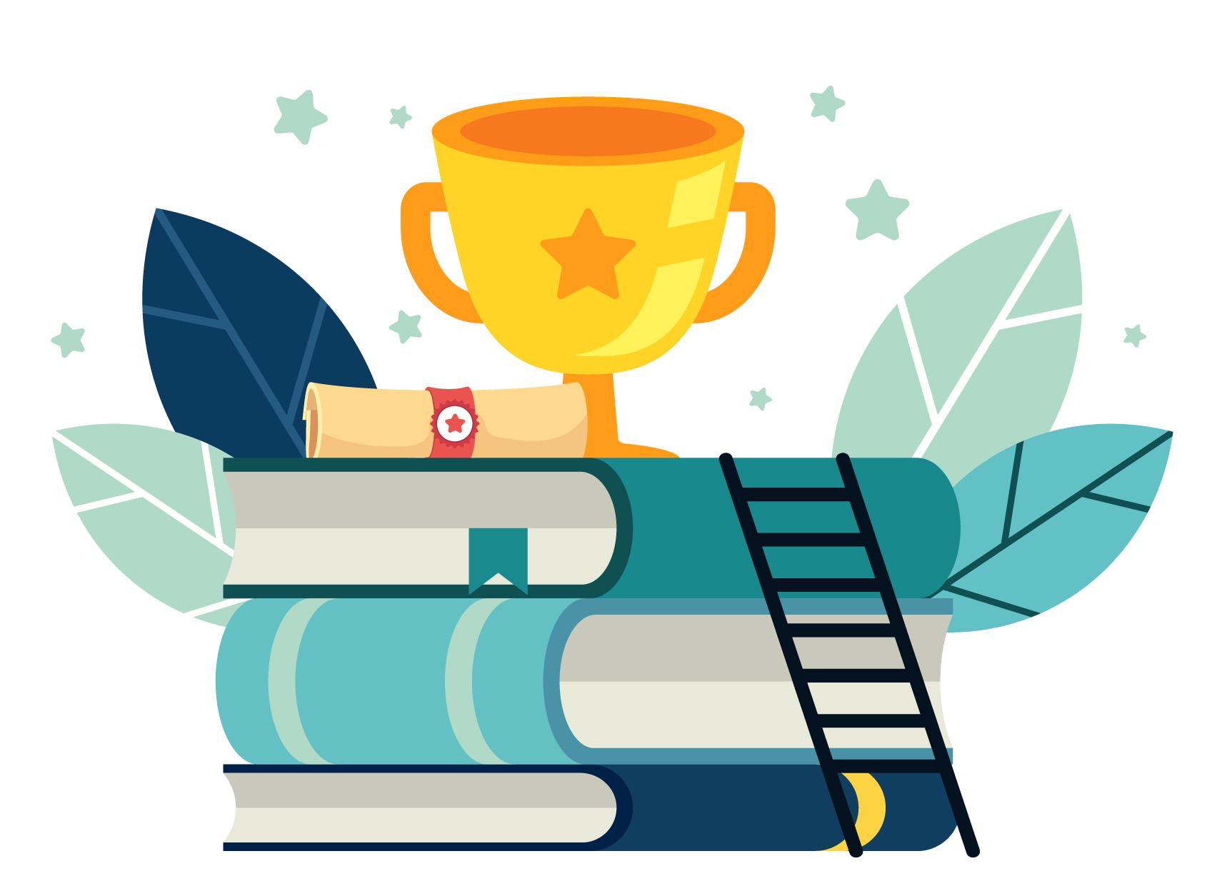 Symbolbild für den Lehrpreis, Bücherstapel mit Pokal